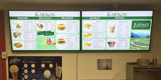 Digital menu boards at Karachi Cafe