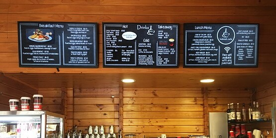 Digital menu boards at Hobnail Cafe